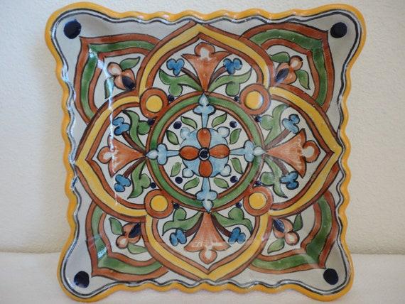 Square Ceramic Scalloped Plate - EarthTones