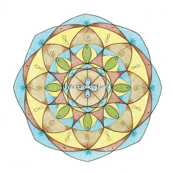 Mandala Art, Mandala Wall Art, Mandala Print, Mandala, Meditation Art, Yoga Studio Decor, Dreamy, Peaceful Art, Sacred Geometry Art, Yoga