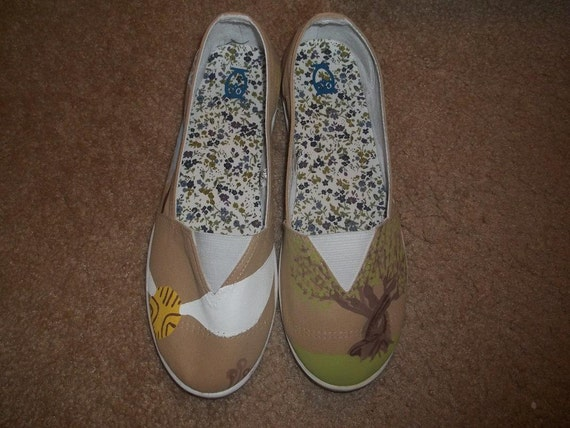 Harry Potter inspired hand painted slip-ons