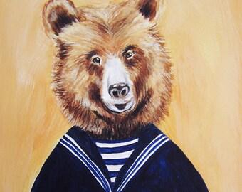 Teddy Bear, Bear print, Print Illustration, Acrylic Painting Kids Decor Drawing Gift : Sailor Bear, christmas gift, merry everything