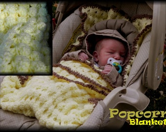 Popcorn Car Seat Blanket Crochet Pattern