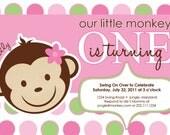 Monkey and Polka Dots First Birthday Party Invitation, DIY Printing