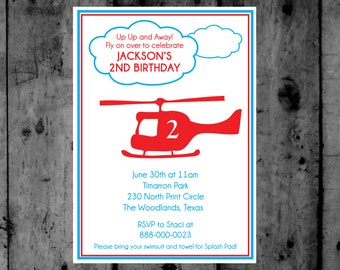 Helicopter Birthday Printable Invitation