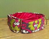 """2"""" Wide Martingale Dog Collar - Dashing Damask - Pink & Green"""