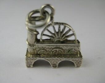 Vintage English Sterling Silver Mill Isle Of Man Laxey Wheel Waterwheel Charm Bracelet Pendant Jewelry