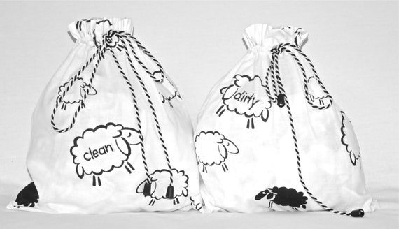 Travel lingerie bags - white sheep