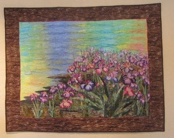 Floral Landscape Quilt   Wild Iris along the shoreline