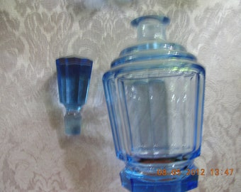 Blue cut crystal decanter and cups