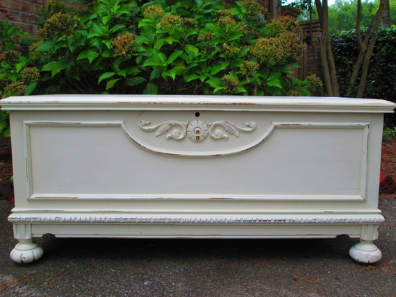 Antique White Distressed Handpainted Cedar Lined Hope Chest. Coffee Table.