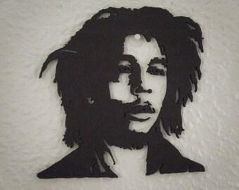 Bob Marley, portrait silhouette cut wood