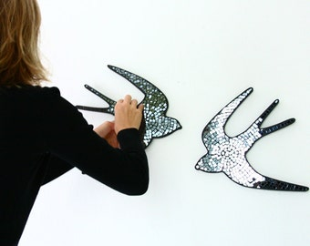 Pair swallows black mirror mosaic wall decor, gift for newlyweds, decorative art - MADE TO ORDER