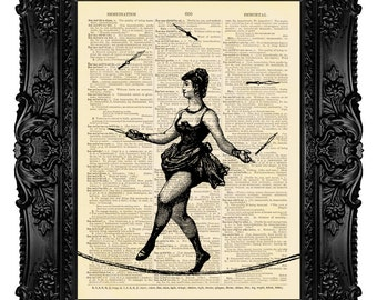 Circus Acrobat Woman, Knife Juggling - Dictionary Art Print Vintage Upcycled Antique Book Page no.176