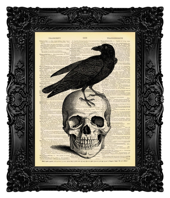 Halloween Decor, Halloween Home Decor, Halloween Decorations Fall Decorations Skull and Raven Poster Art Print Antique Upcycled Book Page 54
