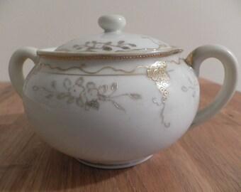 Early Hand Painted Nippon Sugar Bowl - Gold Grape Leaves - Morimura Mark