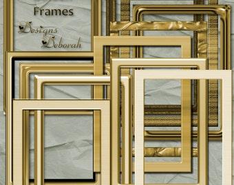 Gold Frames Digital Scrapbooking Kit. Scrap 4 Hire Friendly Frames INSTANT DOWNLOAD