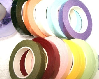 10 rolls X 20y 12mm Florist Tape - Brown Tape|Red Tape|Blue Tape|White Tape|Green Tape|Pink Tape|Peach Tape|Mixed Colors Florist Tapes