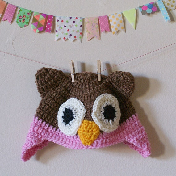 """Hand Crochet Pink Owl Hat or Bonnet with Ear Flaps Blythe 12"""" Doll Real Wool"""
