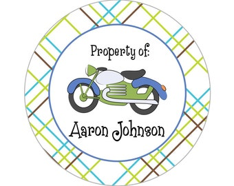 Printable 3-inch Motorcycle Property Label or Gift Tag, Digital Label by Swell Printing - Personalized Wording