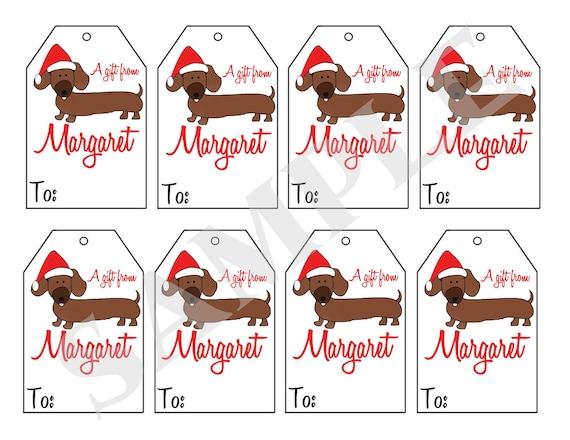 Printable personalized christmas dachshund dog gift tags like this item negle Choice Image
