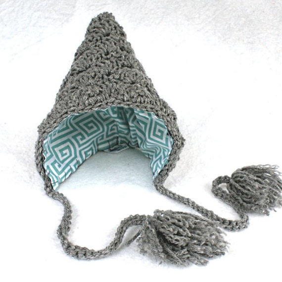 Reversible lined crochet hat pixie bonnet baby elf heather charcoal gray aqua blue turquoise gnome winter hood pom pom toddler child