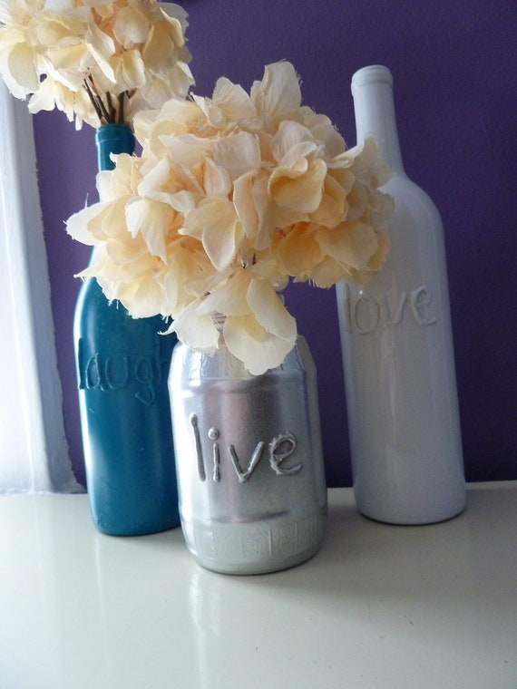 Items similar to upcycled centerpiece painted glass bottle for Glass bottle centerpiece ideas