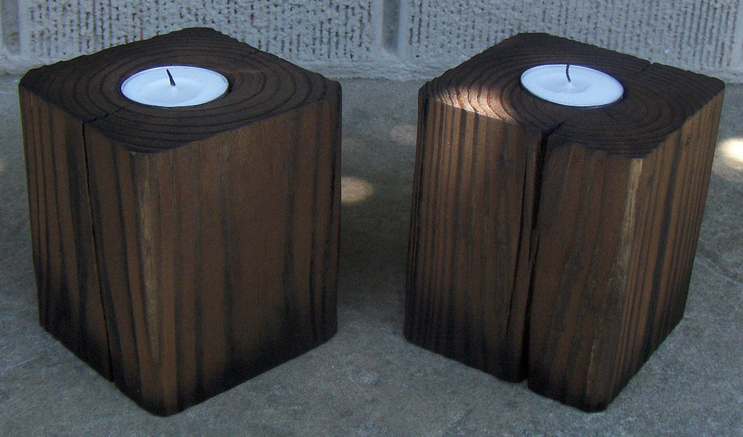 Pair Of Wood Block Tea Light Candle Holders