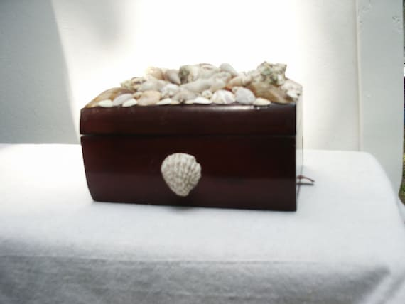 Seashell and Coral Leather Cigar Box