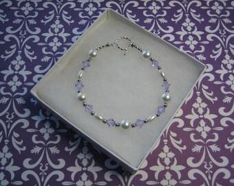 "Swarovski Crystals Lavender, Gift for Her, Mother, Girlfriend, Womens White Pearl Bracelet, Sterling Silver Toggle ""Wispy Lavender"""
