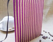 Handbound Journal Fuchsia and Gold Stripes