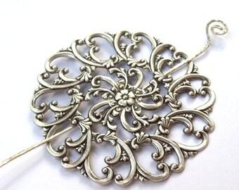 Silver Shawl Pin, Silver Scarf Pin, Filigree Shawl Pin,  silver hair slide, oxidized, flower, floral, fall fashion, silver filled, round