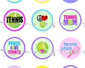 INSTANT DOWNLOAD TENNIS 1 inch Digital Collage Images / sheet 4x6 for Bottlecaps, Charms,  Hairbows,  Jewelry,