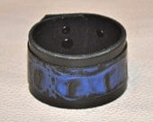 Alligator Style Hand made leather cuff, made in the USA