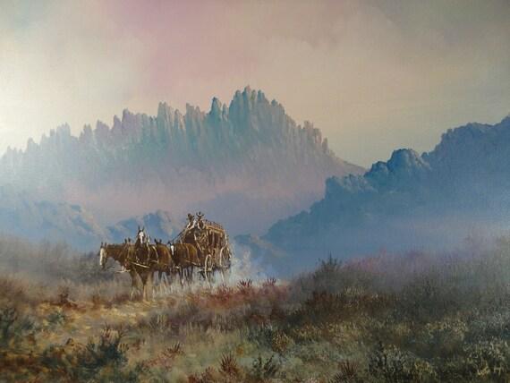 Landscape Oil Painting On Canvas Original By Vintageartcafe