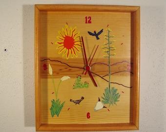 Handpainted southwest desert picture clock