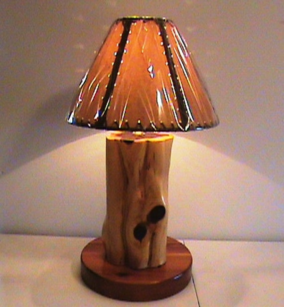 Handmade Log Lamp Table Lamp Desk Light Real Wooden Log: Rustic Aromatic Cedar Log Lamp With Shade Hand By