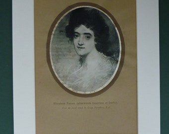 1911 Print Of Elizabeth Farren - Distressed By Age - Woman - Countess Of Derby - Portrait - Matted - Mounted - Picture - Keeper Of The Robe