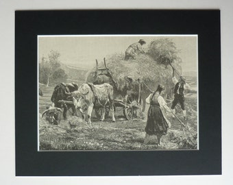 1886 Paul Meyerheim Antique Print - Victorian - Harvest - Agricultural - Rural - Art - Agriculture - Vintage Picture