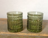 Vintage Set of Two Green Glass Candle Holders