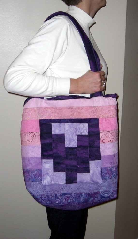 Tote Bag made of Pink and Purple Batiks