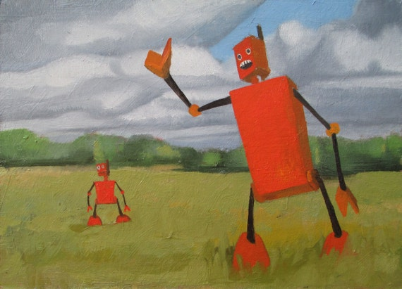 Robots in a landscape - Original Oil
