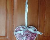 """Hand painted wedding proposal """"Marry Me"""" wooden heart ornament outlined in faux pearls"""