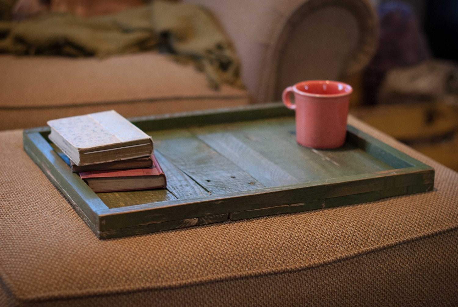 Handmade Rustic Ottoman Tray Tabletop Great By