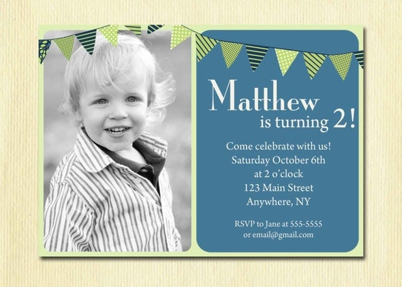 First Birthday Baby Boy Invitation St Nd Rd Th Birthday - Birthday invitation message for 2 year old