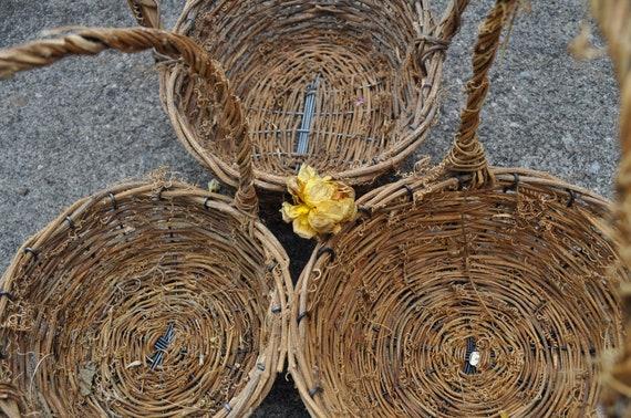 Rustic flower girl wood & straw baskets