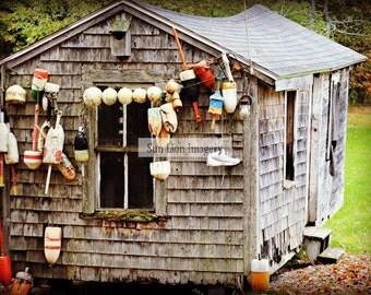 Maine Cottage, Buoys, Nautical Photography, Fine Art Print, Nature, 8x10 Print