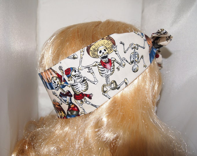 Vintage Mexican Skeleton Head Scarf - Dancing Day of the Dead Hair Tie - 1950s