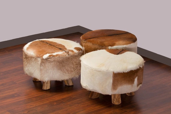 Brown White Large Round Leather Cowhide Ottoman Free By