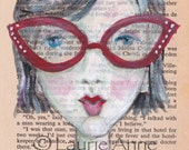 Bookish Beauty in Red Cat-eye Glasses, 5x7 print