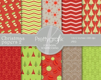 80% OFF SALE Christmas digital paper, commercial use, scrapbook papers, background - PS561