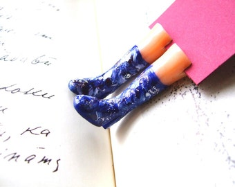 Cosmic Galaxy shoes bookmark. Blue rainboots. Space shoes. Galaxy, Universe. Funny gift. Unique gift. Christmas gift. Free shipping